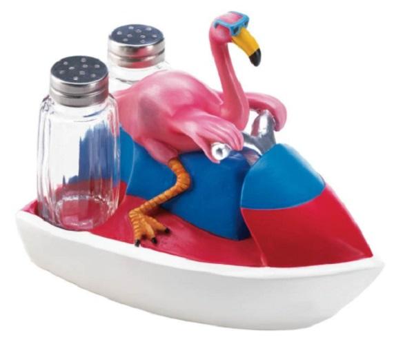 Flamingo on a Jet Skiing Salt and Pepper Holder