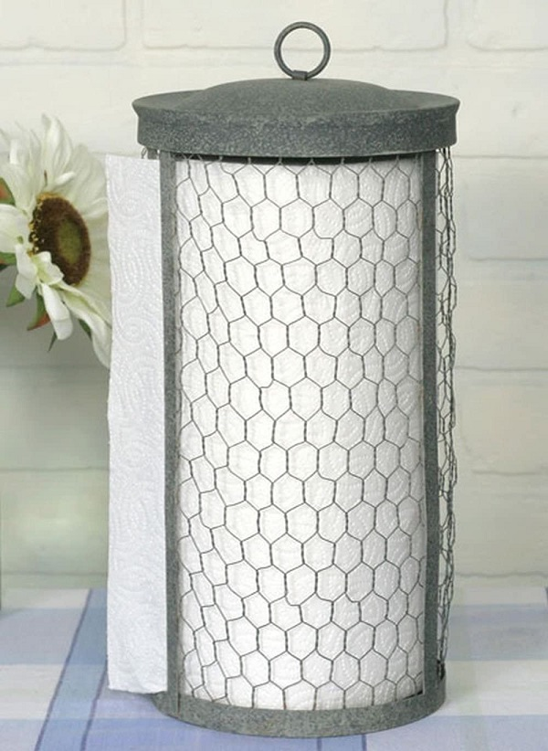 Colonial Tin Works Chicken Wire Kitchen Roll Holder