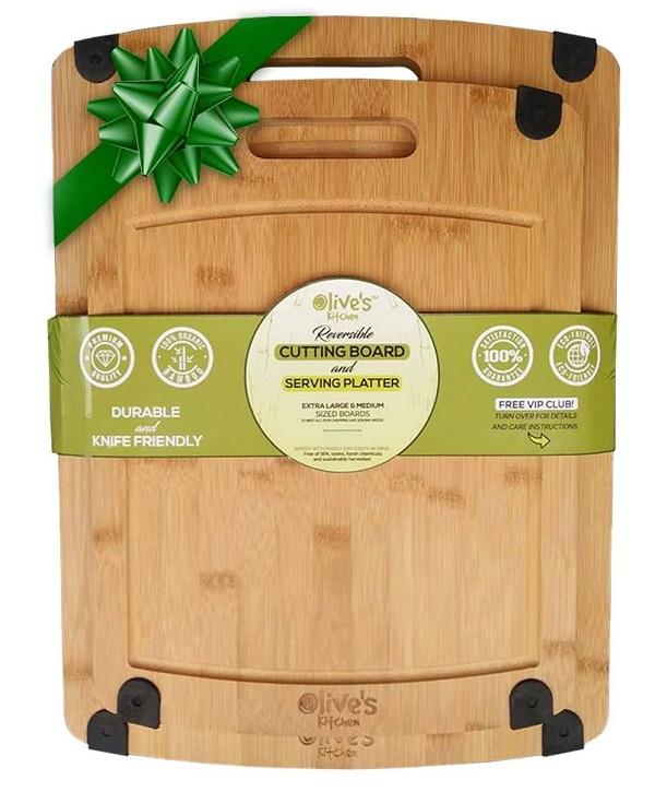 Olive's Kitchen Organic Bamboo Cutting Board Set (2 Pack)