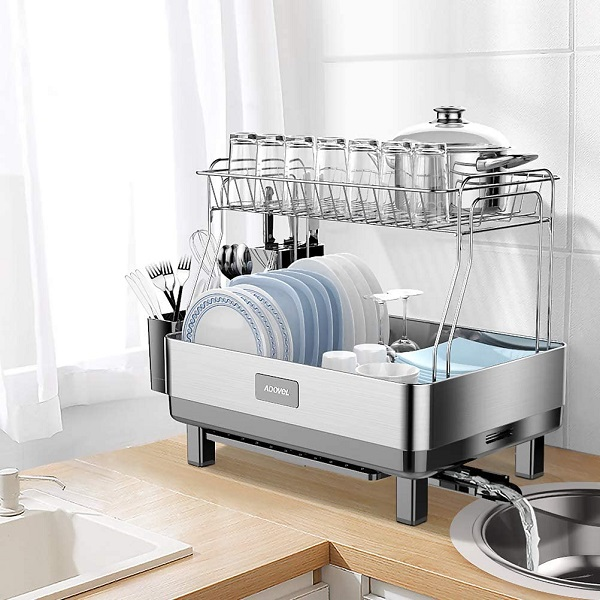 ADOVEL Dish Drying Rack and Drainboard Set