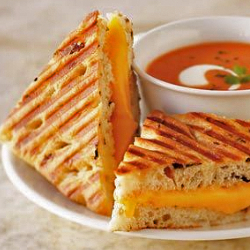 Children's Grilled Cheese Panini with soup