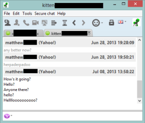 Try as we might, we couldn't get Yahoo messages to send properly in Jitsi