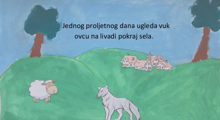 Jednog proljetnog dana ugleda vuk ovcu na livadi pokraj sela.