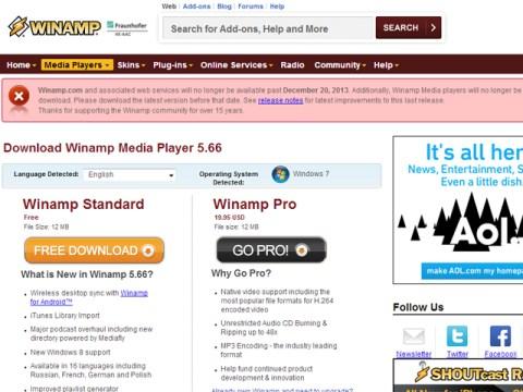 La despedida oficial de Winamp