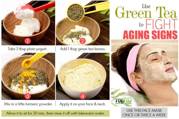 green tea and yogurt face mask to delay skin aging