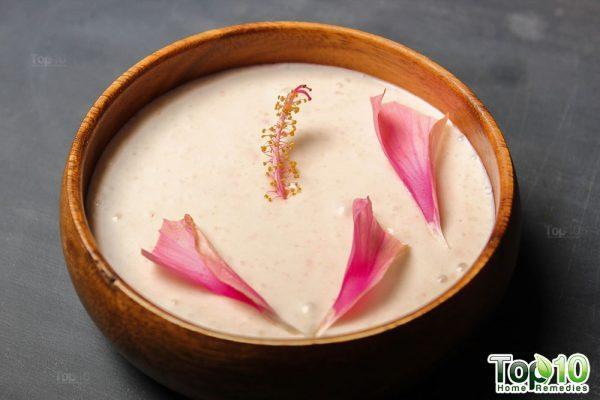 DIY hibiscus flower hair mask