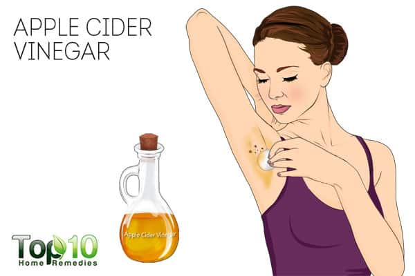 Use apple cider vinegar to get rid of skin tags on armpits