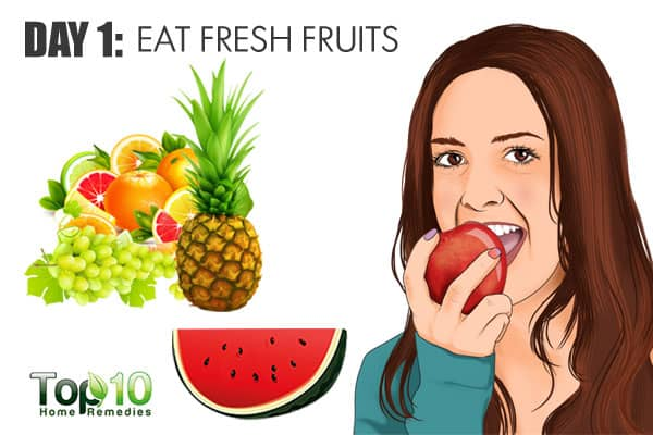 eat fresh fruits on day 1 of the gm diet