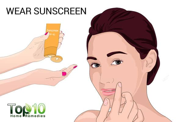 wear sunscreen to treat smile lines