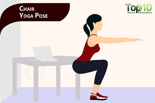 chair yoga pose for pot belly