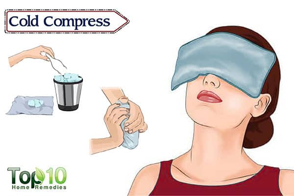 cold compress to reduce redness in eyes