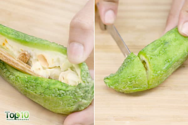 remove the seeds from bitter gourd then chop it