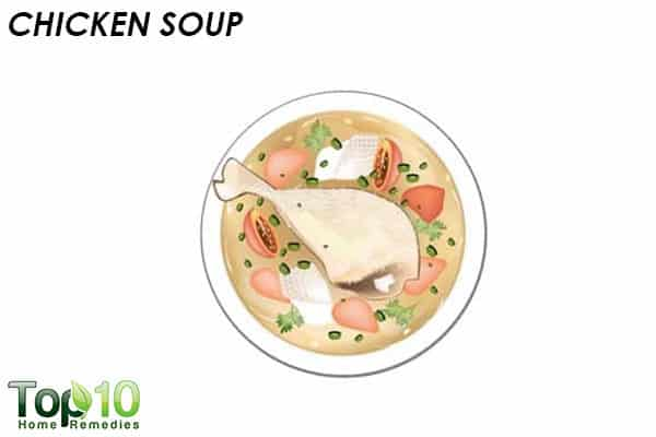 chicken soup to reduce head cold