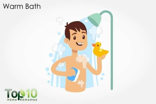 warm bath to treat constipation in children
