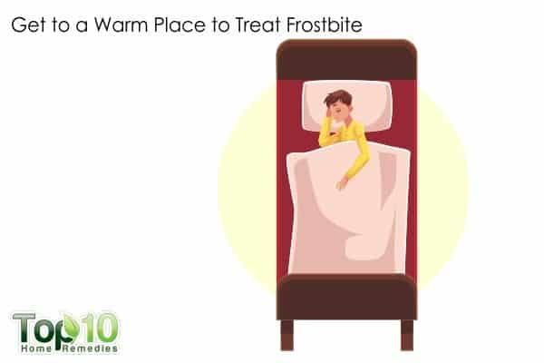 get to a warm place to relieve frostbite
