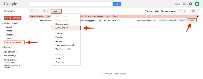 Elimina gruppo contatti Gmail