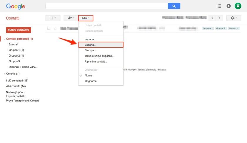 Esportazione Contatti Google