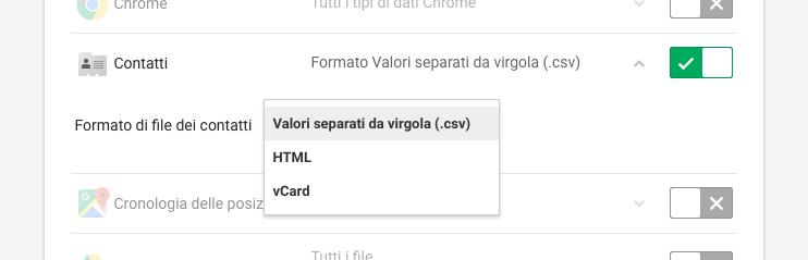 Google Takeout - Salvataggio backup contatti