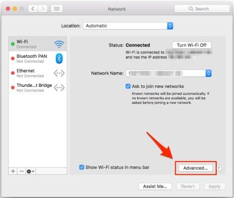 Mac - Impostazioni avanzate di Rete