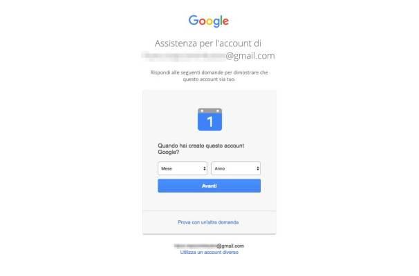 Recupero password Account Google - Data di creazione dell'account