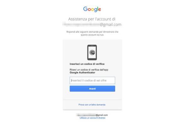 Recupero password Account Google - Google Authenticator