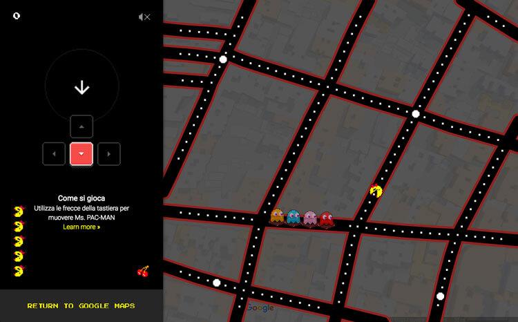 Google Maps - Pac Man Pesci d'Aprile