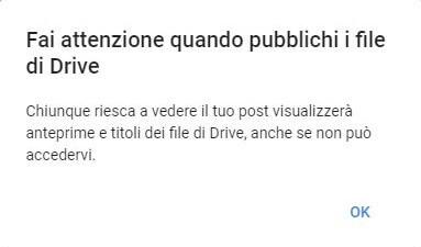 Avviso Privacy Condivisione Google+ Drive