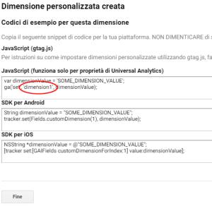 Dimensioni personalizzate di analytics