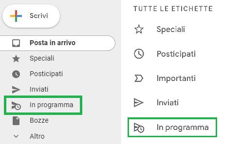 etichetta In programma nel menù web e App