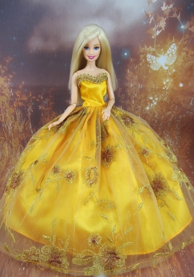 Beading Decorate Ball Gown Gold Barbie Doll Dress US7065