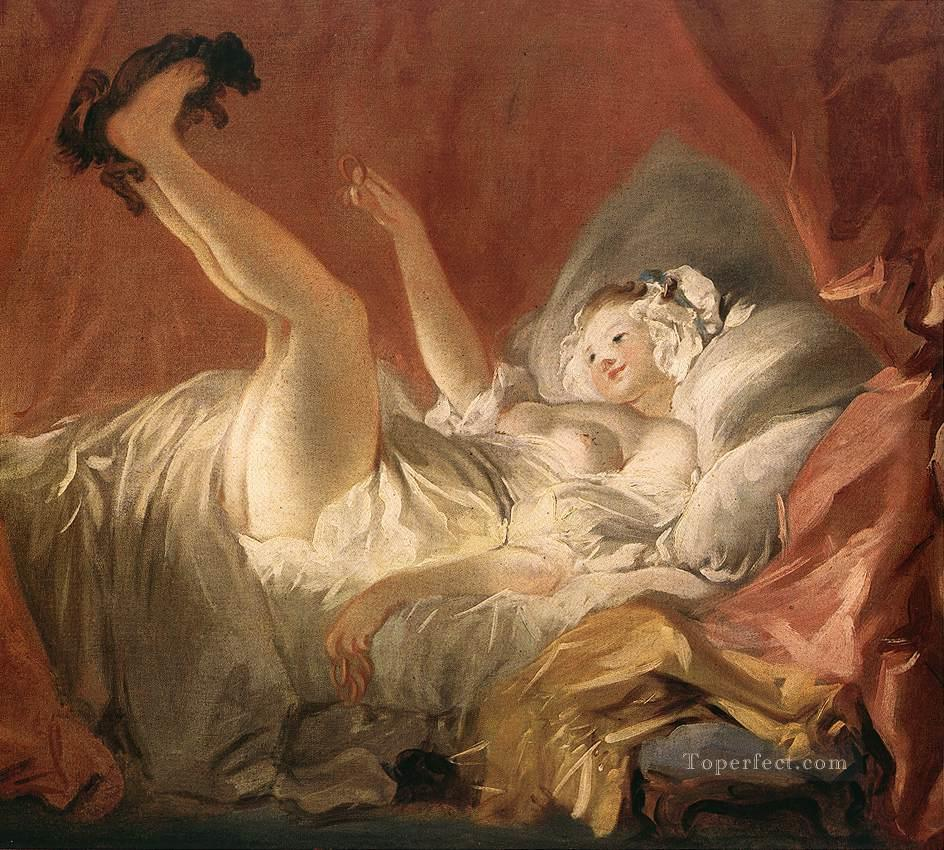 Young Woman Playing with a Dog Jean Honore Fragonard Rococo Painting     Young Woman Playing with a Dog Jean Honore Fragonard Rococo Painting