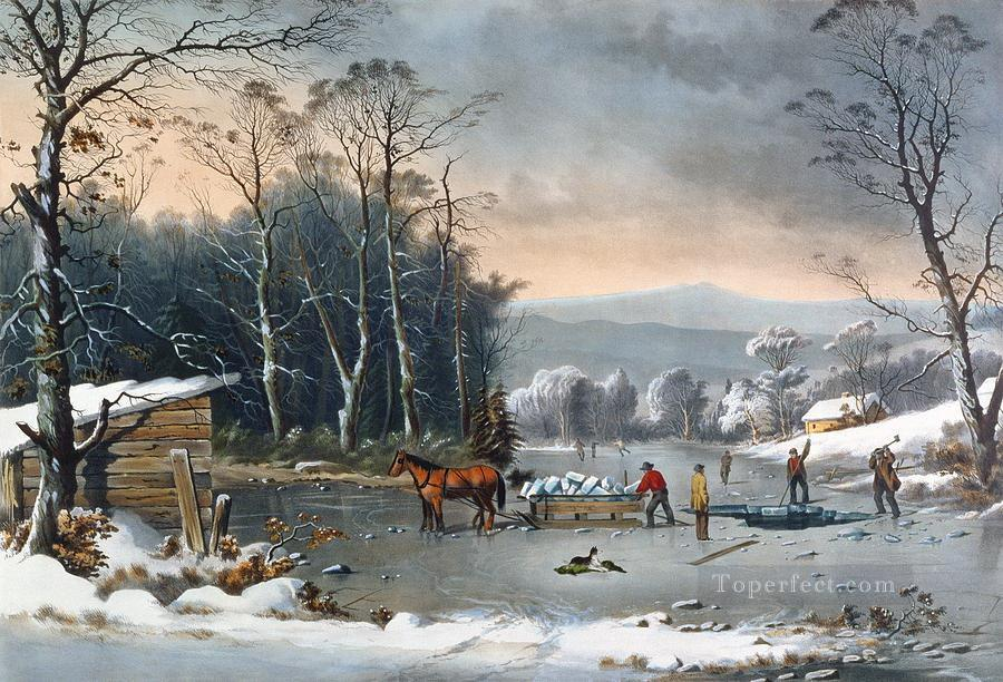 Winter In The Country Landscape Painting In Oil For Sale
