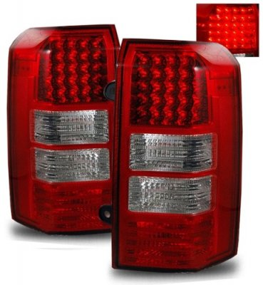 jeep patriot 2007 2011 red and clear led tail lights