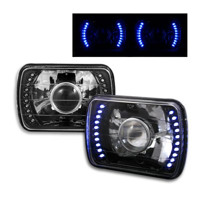 Chevy S10 1982 1993 Blue LED Black Sealed Beam Projector