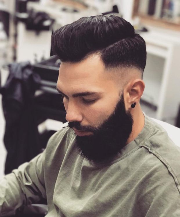 High Fade Hairstyle With Beard 2018