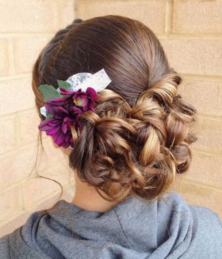 13 Low Curly Updo With Flowers