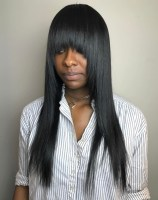 14 Black Straight Layered Hairstyle With Bangs
