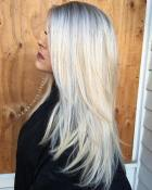 14 Long Layered Ash Blonde Hair With Root Fade