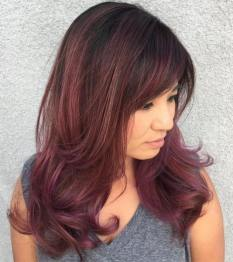 17 Mediumtolong Burgundy Hairstyle With Bangs