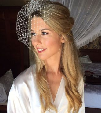 19 Half Up Wedding Hairstyle With Birdcage Veil