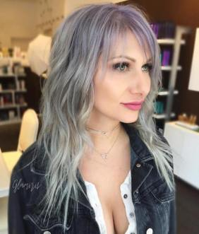 2 Gray Hairstyle With Lavender Root Fade