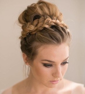 3 Messy Prom Hairstyle With Braid Around