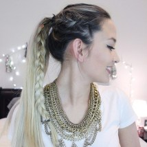 3 Ponytail With A Side Braid For Long Hair