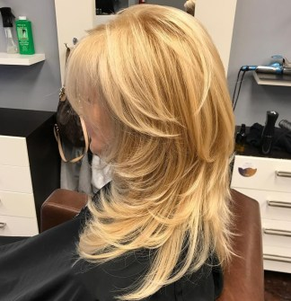 51 Lovely Golden Blonde Cut With Swoopy Layers