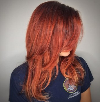 9 Copper Red Cut With Long Bangs And Layers