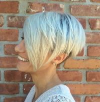4 Layered Blonde Pixie Bob With Long Bangs