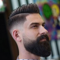 Big Comb Over Mid Fade Long Beard
