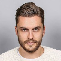 Classic Side Part Tapered Sides Beard