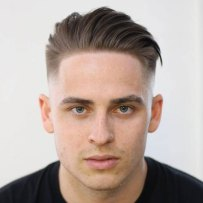 Low Fade Line Up Textured Combed Back Hair