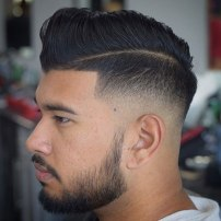 Low Razor Fade With Hard Part Comb Over
